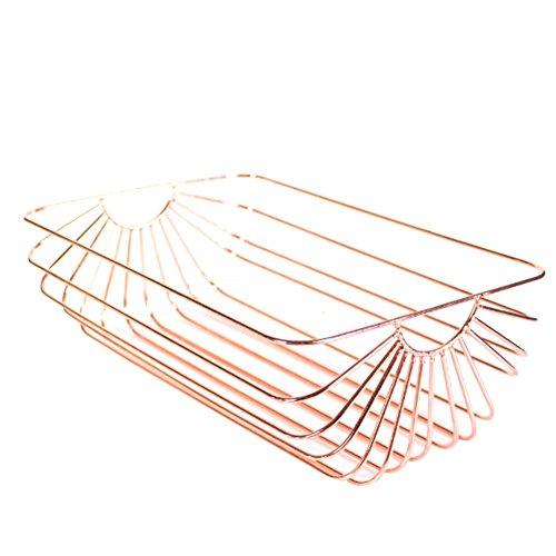 Bulary Nordic Style Iron Storage Basket Rose Gold Storage Basket Black and Rose Gold