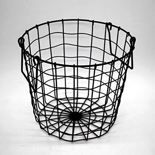 CHOUCHOU Flower Stand Wrought Iron Desktop Storage Basket Black Storage Basket Mesh Hamper Laundry Basket Home Storage
