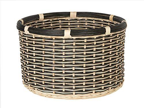 KOUBOO Round Rattan Twisty Natural-Black Storage Basket