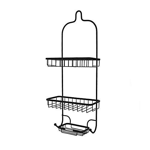 LifxX 3 Tier Iron Art Shower Shelf Hook Type Black Storage Basket Finishing Rack Wall Mounted Bracket Bathroom TubShower Caddy Stand Hanging Organizer Holder with 2 Hooks