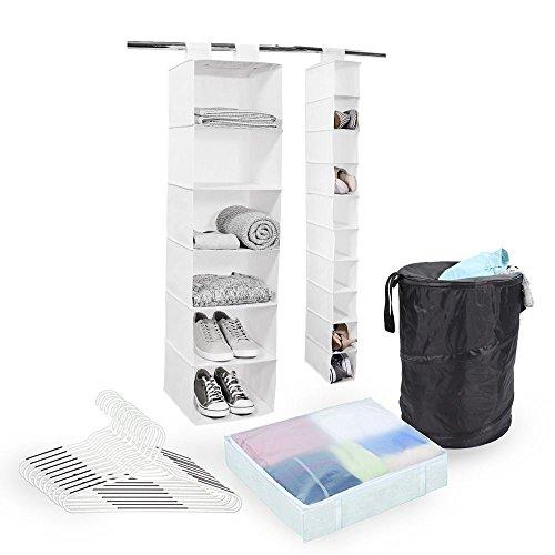 Tidy Living Storage Organizer 5 Piece Bundle - White Hanging Organizers Hangers Underbed Bag Pop Up Hamper
