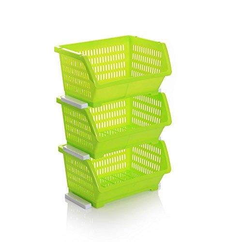 CLG-FLY Kitchen racks fruits and vegetable racks kitchen corner shelf storage basket plastic storage boxGreen
