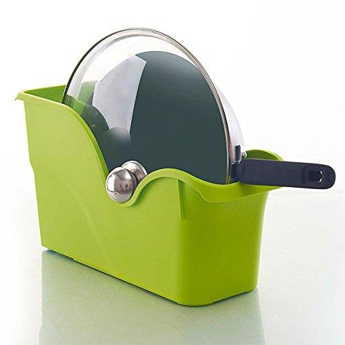 CLG-FLY Multi-function shelf storage basket lid storage rack spice in the kitchen utensil storage box pulleyGreen