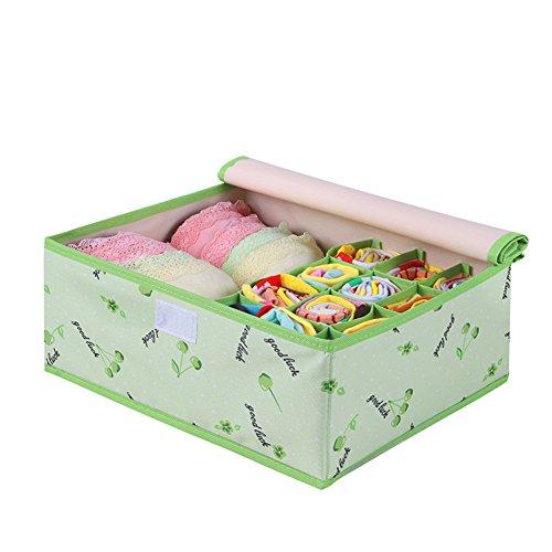 QUBABOBO Eco-Friendly Oxford Cloth 2in1 Water Proof Folding Storage Box for Bra Underwear Socks 125x102x51Green Cherry