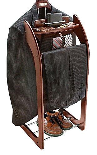 Solid Hardwood Mahogany Finish Clothes Valet Stand Trouser Hanger Bar Jacket Hanger Tray Organizer