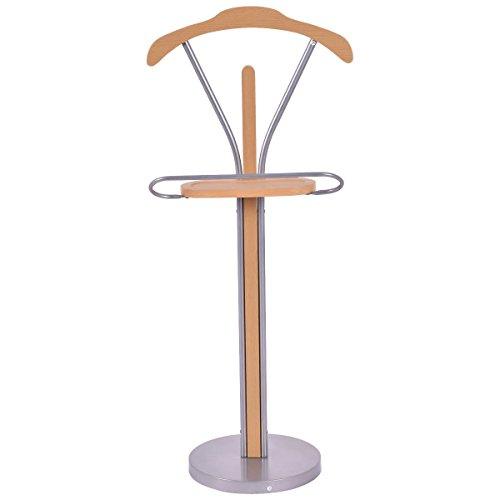 Standard Clothes Hangers Valet Suit Coat Stand Organizer Wood Metal Home