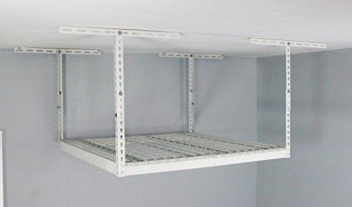 MonsterRAX Overhead Garage Storage Rack 24 to 45 Ceiling Drop 4 x 4 White