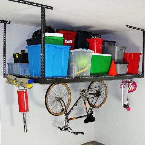 SafeRacks 2 4x8 Overhead Garage Storage Racks Heavy Duty 12-22 Ceiling Drop - Hammertone - Value Combo - Includes 18 Piece Accessory Hooks