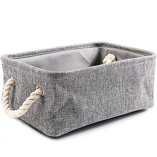 Linen Cloth Storage BinsFoldable Fabric Storage Organizer Baskets with Dual Rope Handles for Organizing LaundryKids Pet ToysBooksClosetGift Grey