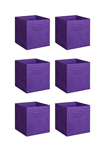 New Home Storage Bins Organizer Fabric Cube Boxes Shelf Basket Drawer Container Unit 6 Purple