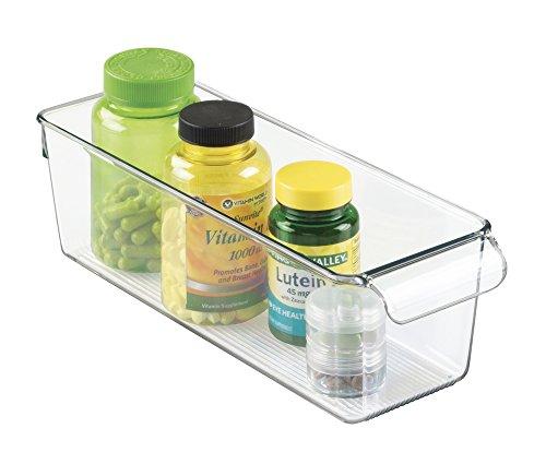 mDesign Storage Bin Organizer for Vitamins Medicine Medical Dental Supplies - Clear