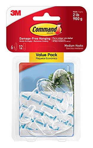 Command Hooks Medium Clear 6-Hooks 17091CLR-6ES