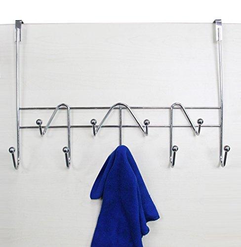 ESYLIFE Hooks Over The Door Hook Organizer Rack Hanging Towel Rack Over Door 9 Hooks Chrome Finish