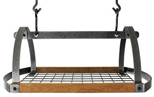 Enclume Handcrafted Decor Oval Ceiling Pot Rack Hammered Steel and Alder