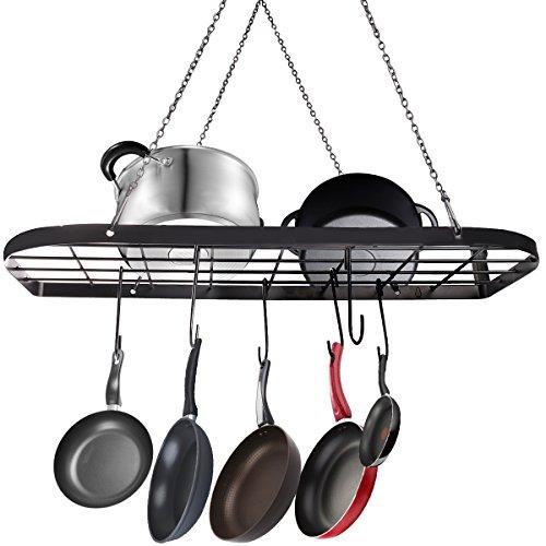 VDOMUS Pot Rack Ceiling Mount Cookware Rack Hanging Hanger Organizer with Hooks Black