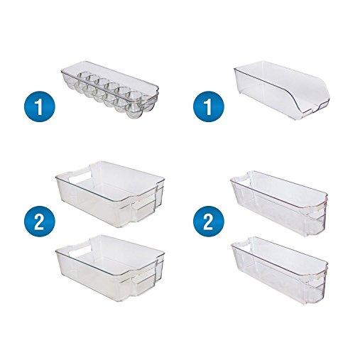 Greenco 6 Piece Refrigerator and Freezer Stackable Storage Organizer Bins with Handles Clear