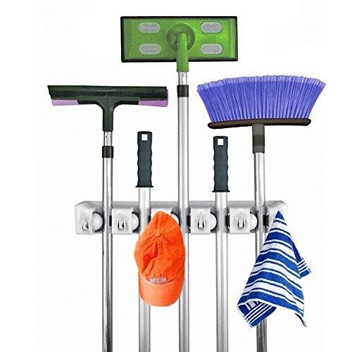 Yulink Multifunctional Mop and Broom Holder Wall Mounted HolderGarden Tool Storage Tool Rack Storage 5 Position 6 Hooks