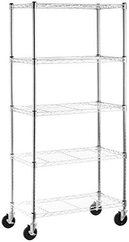 AmazonBasics 5-Shelf Shelving Storage Unit on 4 Wheel Casters Metal Organizer Wire Rack Chrome Silver 30L x 14W x 6475H