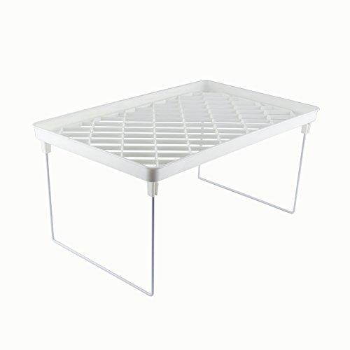 Farway 1 piece Foldable Stackable Plastic Storage Rack for Kitchen Cabinet Bathroom Closet Shelving Shelf Holders Organizer Medium