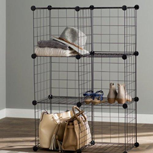 Metal Shelf Unit 6 Cube Mesh Storage Shelving Units And Storage Color Black