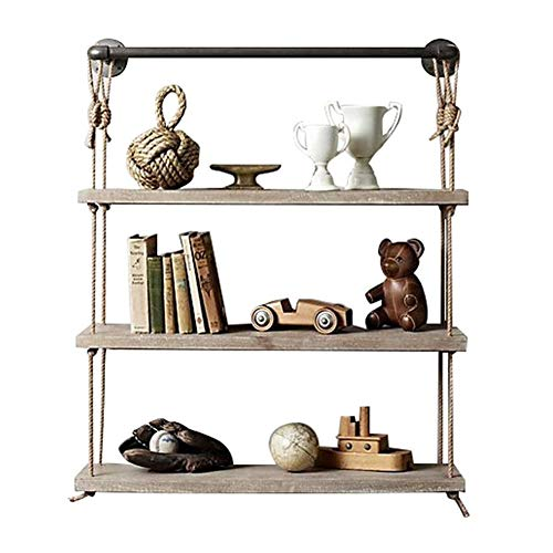 LYY Wandregal Shelf for Walls Retro Style Wall Mounted with Hemp Rope and Iron Metal Shelf Racks Floating Unit Frame Decorations Design3 Tiers