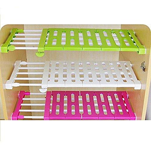 1 Pack Shopline Adjustable Storage Rack Shelf Layered Organizer Divider Holder for Kitchen Cupboard Refrigerator Wardrobe Bathroom Bookcase Compartment Collecting  Random Color M 38-55cm