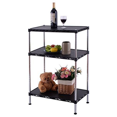 New 3-Tier Adjustable Storage Rack Shelves Display Organizer Home Office Furni Black