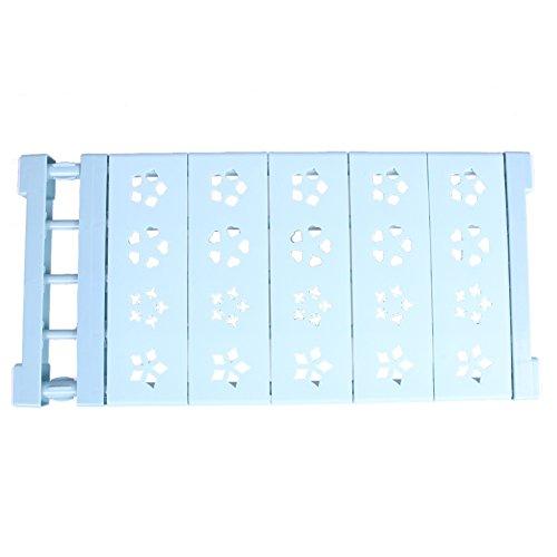 Whitelotous Wardrobe Kitchen Storage Rack Adjustable Nail-free Shelf Divider for Cupboard Light blue