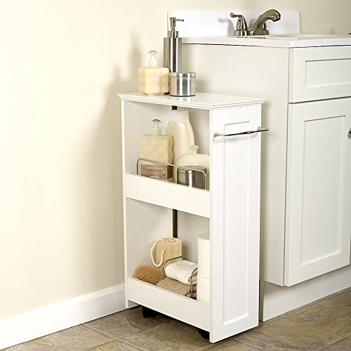 Kize 2-Shelf Rolling Bath Cart Slimline Rolling Storage Shelf White