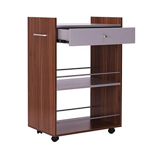 Rolling Wood Kitchen Trolley Cart Storage Drawer Shelf