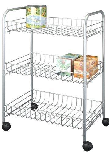 Sprinter 938000039 Multi-Purpose Rolling Shelf Unit 3 Shelves Silver by Metaltex
