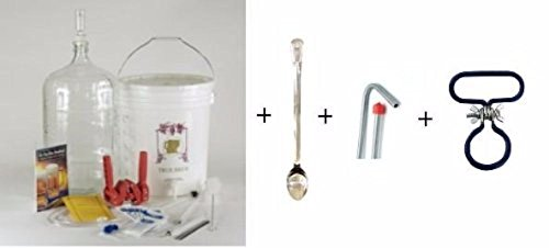 Gold Complete Beer Equipment Kit K7p Premium with 5 Gallon Glass Carboy Carboy Handle Stainless Spoon and Stainless Racking Cane