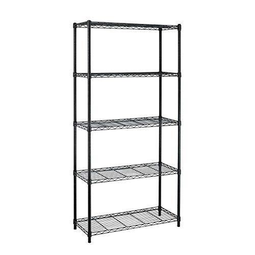 Black Metal 5-Shelf Heavy Duty Shelving Unit Storage Rack