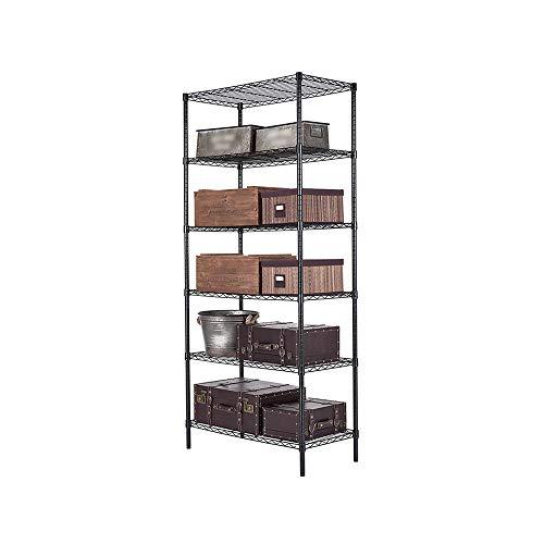 FLYSXP Kitchen Shelf 6-story Shelving Unit Heavy Duty Shelving Unit Black Kitchen storage Color  Black Size  90x45x200cm