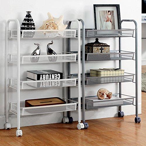 4-Shelf D258cm W445cm H838cm White Steel Storage Rack Basket Shelving Unit Trolley Cabinet Kitchen Island with Caster Wheels WJM4685-4WH