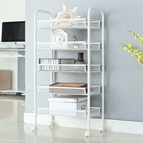 5-Shelf D258cm W445cm H103cm White Steel Storage Rack Basket Shelving Unit Trolley Cabinet Kitchen Island with Caster Wheels WJM46104-5WH