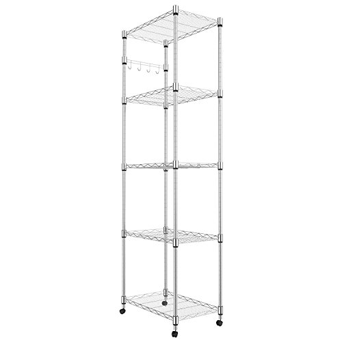 Fashine 5-Tier Adjustable-Height Steel Shelving with Wheels and Hooks for Kitchen Balcony Living Room Silver