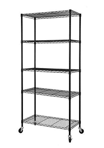 HollyHOME Storage Shelf Heavy Duty 5 Tier Wire Shelving Rack with Wheels Thicken Steel Bright Black