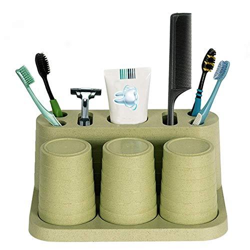 LIZHI Bathroom Toothbrush Toothpaste Holder Stand Organizer Plastic Storage Rack Set 3 Colors Green