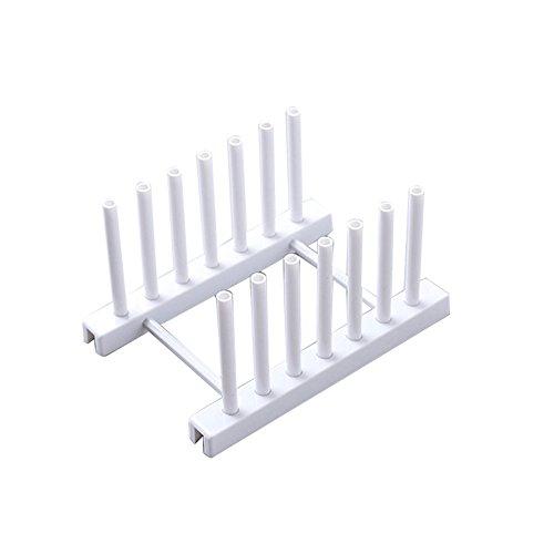 ekqw015l ekqw015l Kitchen Dish Plate Pot Cover Drying Drain Holder Plastic Storage Rack Shelf White