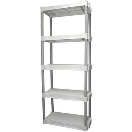 Plano Heavy-Duty Plastic 5-Shelf Storage Unit Light Taupe
