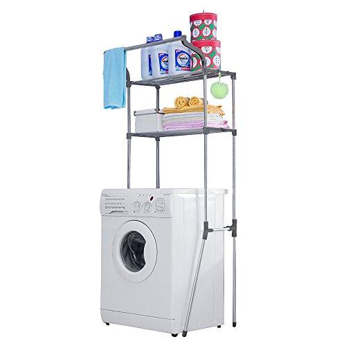 Baoyouni Bathroom Spacesaver Over Washing Machine 2-tier Storage Rack 79W X 74D X 173H cm Gray