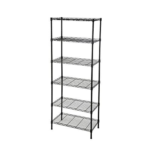 GEYUEYA Home 6 Tier Height Adjustable Metal Storage Racks Home Kitchen Storage Organization Shelves
