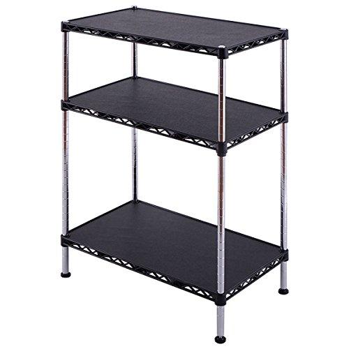 Giantex 3 Tier Adjustable Storage Rack Shelves Display Organizer Home Office Furni Black