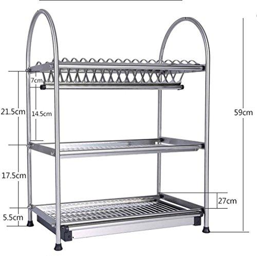 W&P Stainless steel kitchen dish drain rack 3-tier storage rack cutting board knife wall floor  40cm