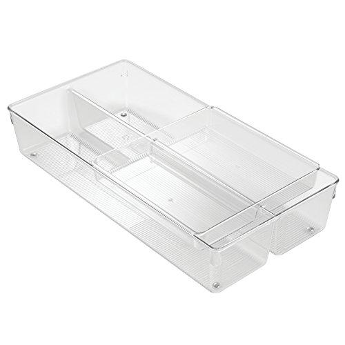 InterDesign Linus 2-Piece Sliding Kitchen Drawer Organizer for Silverware Flatware Gadgets - Clear