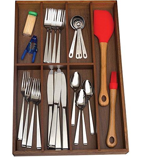 Lipper International 1077 Acacia Flatware Organizer with 7 Compartments