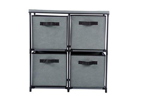 Homebi 4-Drawer Storage Chest Shelf Unit Storage Cabinet Multi-Bin Organizer with Removable Non-Woven Fabric Bins in Grey25W x 132D x260H