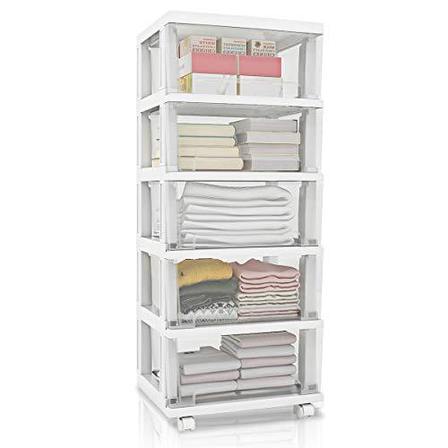 Nafenai 5 Plastic Storage Drawers Cart Organizer Unit for Bedroom Closet Entryway Hallway Nursery Room - White
