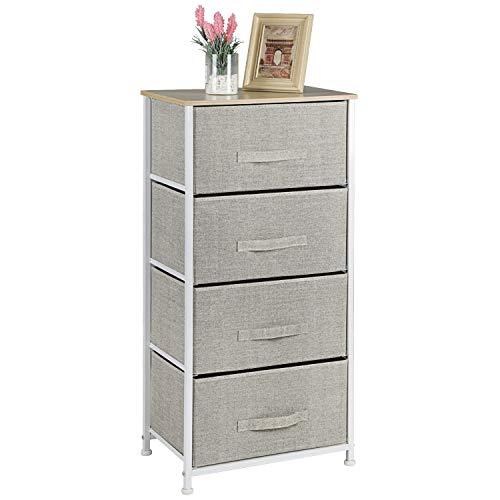Pipishell 4 Drawer Fabric Dresser Storage Tower Dresser Chest with Wood Top Organizer Unit for Closets Bedroom Nursery Room Hallway